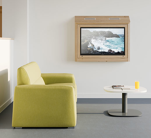 TV cabinet in a mental health lounge